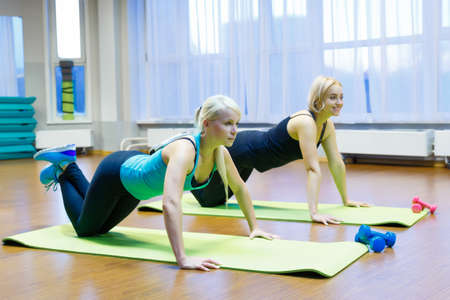 two girls perform an exercise in the gym 写真素材
