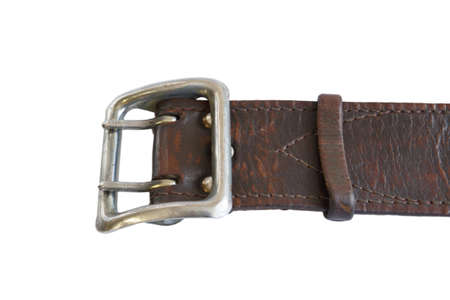 Brown leather army belt on white background. Military belt. Soldier's Trouser belt.