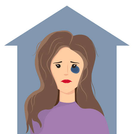 A woman with a black eye inside the house. Concept of domestic violence-vector illustration.