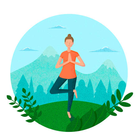 The girl does yoga in nature. Isolated in a circle on a white background with texture particles. Vector illustration.