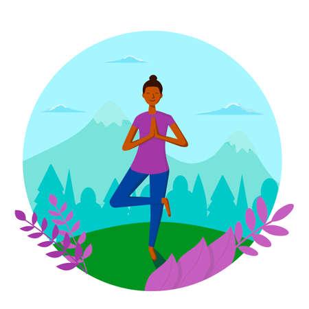 Dark-skinned girl does yoga on a background of mountain nature. Modern flat illustration. Vector illustration.