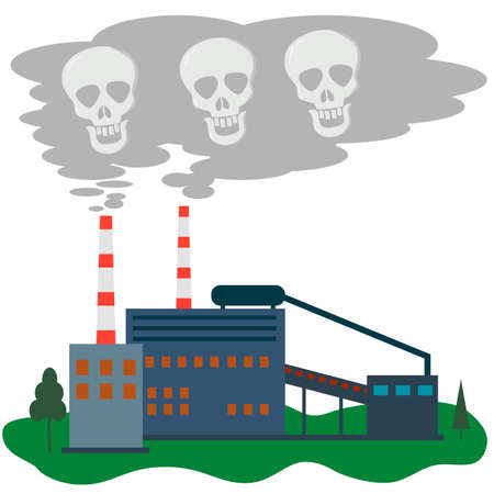 The plant pollutes the air with its smoke. Skulls in the smoke from the factory. Concept of environmental pollution by heavy industries. Vector flat illustration. Ilustração