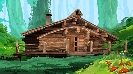 hut in the woods Illustration