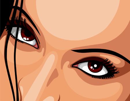 olhos castanhos: Olhos castanhos bonito da mulher Ilustração