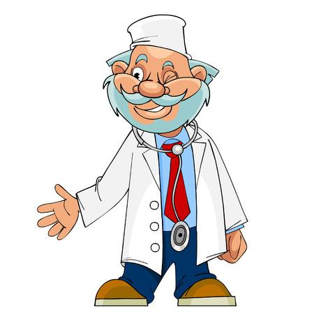 cheerful: cartoon character cheerful doctor, paramedic