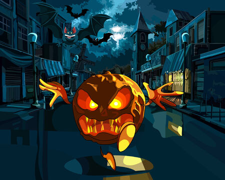 DOWN TOWN: Halloween night. Wicked pumpkin running down the street of the old town.
