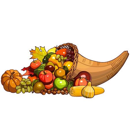 Cornucopia, wicker basket with autumn fruits