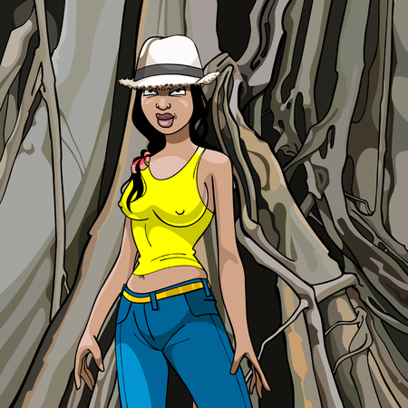 cartoon girl in a hat, T-shirt and jeans on a wood background Vector