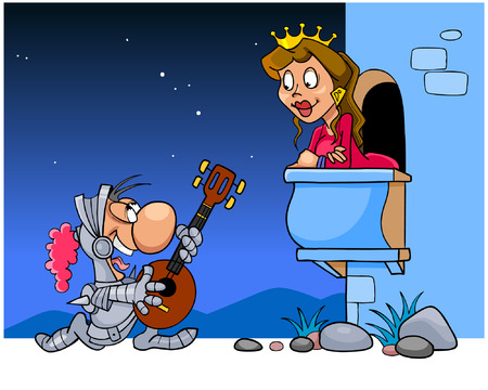 Knight sings a serenade under the balcony of his beloved Vector