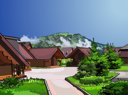 wooden houses: landscape wooden houses on a background of mountains Illustration