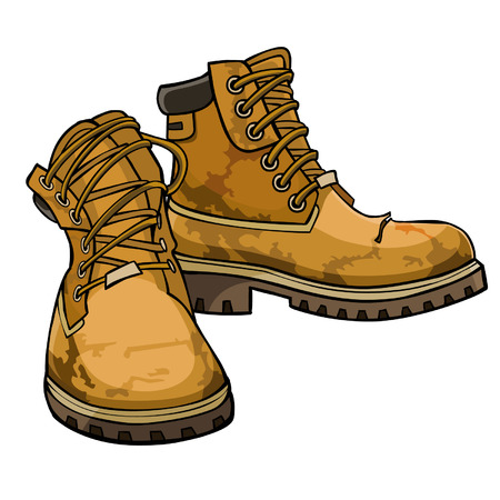 old torn boots with lacing yellow color