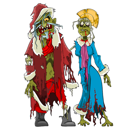 cartoon zombie Santa Claus and Snow Maiden zombies in tattered clothes Vector