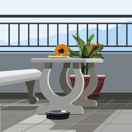 patio chair: Interior balcony, table with fruit papaya and potted plant