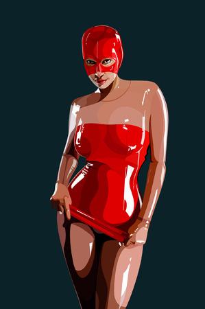 빨간색 라텍스에서 섹시 한 여자 일러스트