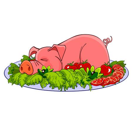 porker: cartoon pig on a plate with vegetables Illustration