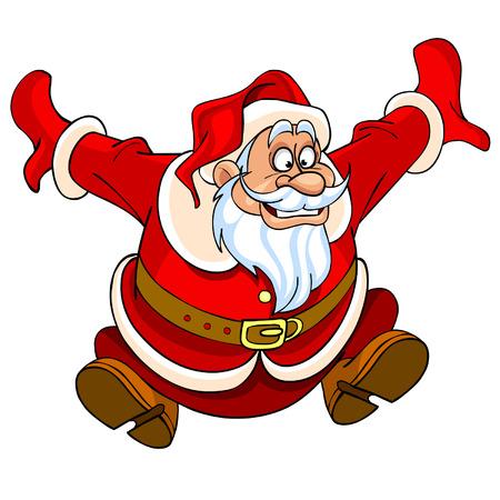 cartoon Santa Claus jumping with joy