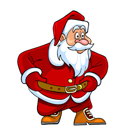 curiously: cartoon Santa Claus looking curiously Illustration