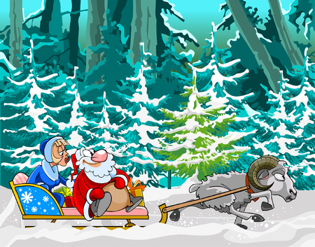 snow maiden: cartoon sheep driven in a sleigh of Santa Claus and Snow Maiden