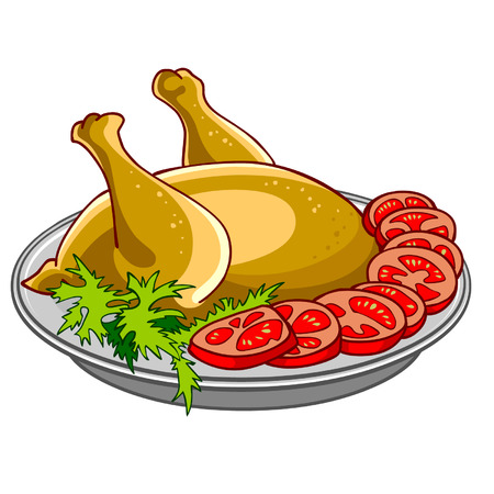poult: chicken baked with vegetables on a platter