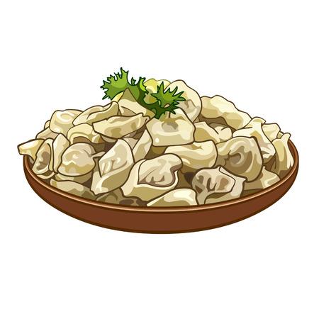 dumplings on a platter Illustration