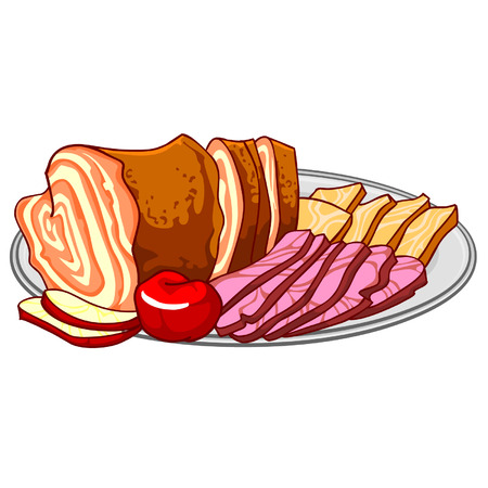 cold cuts: ham, cold cuts on a platter Illustration