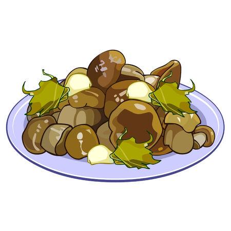 pickled: pickled mushrooms on a plate Illustration