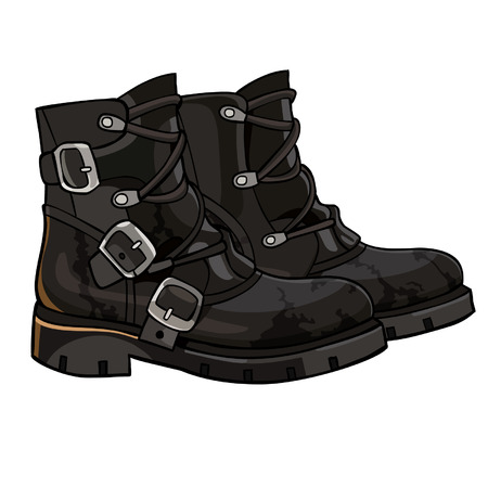 buckles: Old black boots with buckles and laces