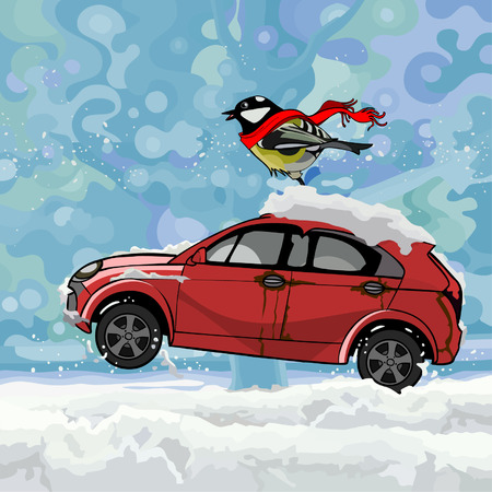 titmouse: cartoon bird fluttering scarf, sitting on a car hurtling on snow in winter Illustration