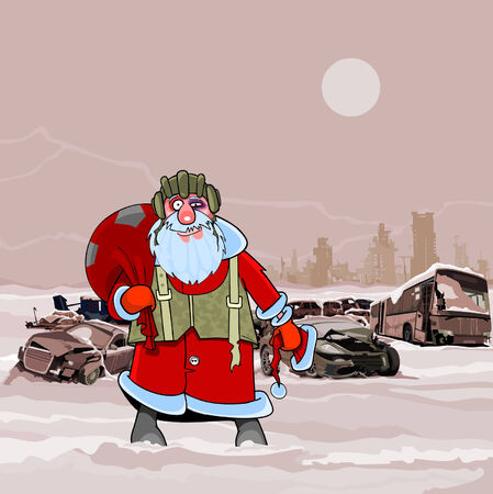 wrecked: Santa Claus at the dump wrecked cars nuclear winter postapokalipsisa