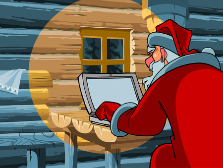 typing on computer: Santa Claus typing a letter on the computer