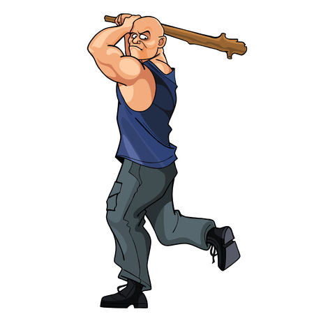 a cudgel: bald strong man brandishing cudgel Illustration