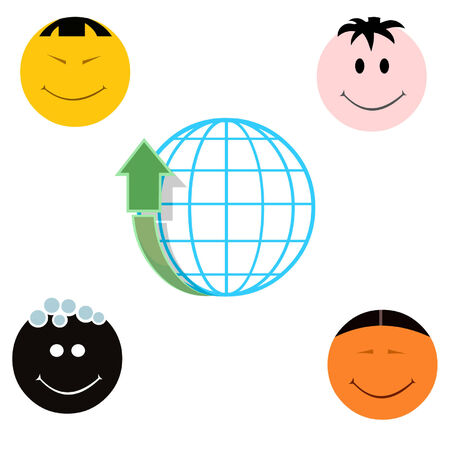 Globe with arrow up and four different national faces Vector