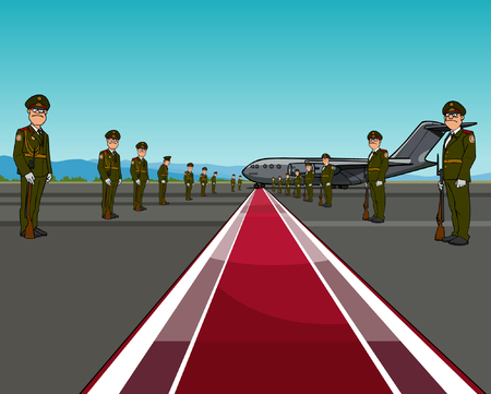 arming: men in uniform standing on opposite sides of the red carpet about aircraft Illustration