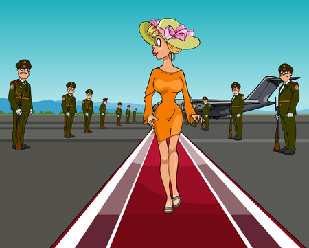 cartoon elegant woman in a hat walking on the red carpet of the aircraft