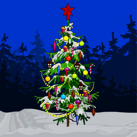decorated christmas tree: cartoon decorated Christmas tree in winter forest Illustration