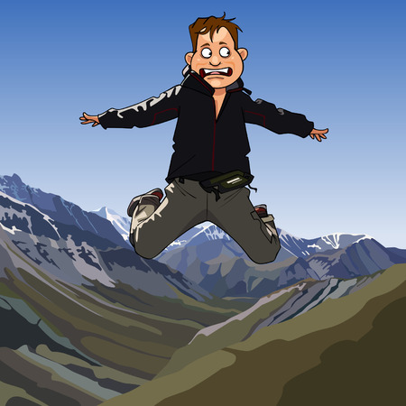man jumping: cartoon frightened man jumping on a background of mountains Illustration