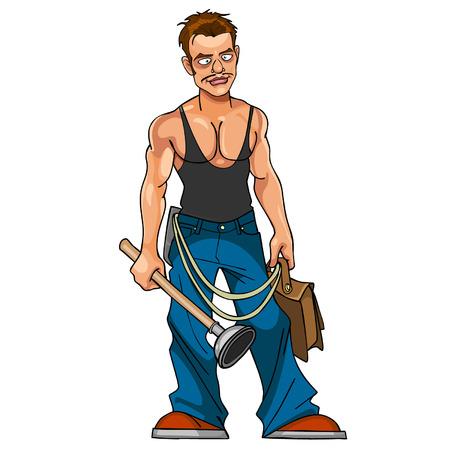 ingeniero caricatura: fontanero de la historieta con el �mbolo y la cartera