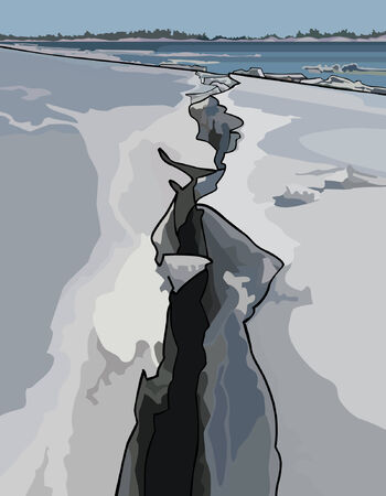 shelf ice: crack in the ice, ice drift on the river