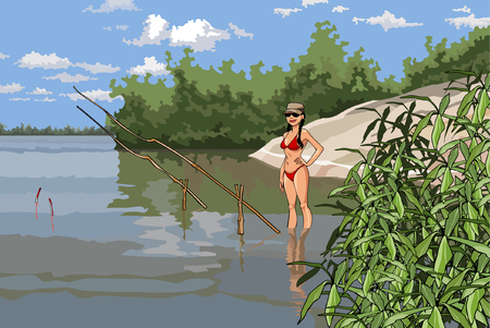 girl in a bathing suit is fishing on the river