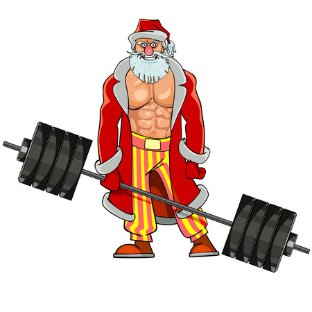 man with pumped muscles dressed as Santa Claus stands with barbell