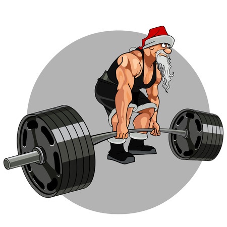 Santa Claus athlete with a barbell Illustration