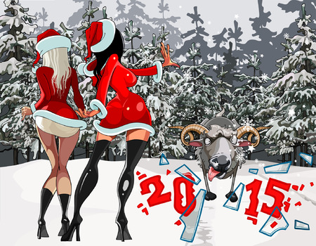 prostitution: two girls in the New Year costumes stop the sheep in the winter snowy forest Illustration