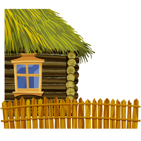 thatched: Wooden house with thatched roof and wooden fence Illustration