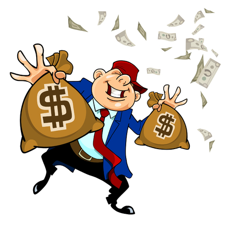 cartoon happy man holding in each hand bag with dollars