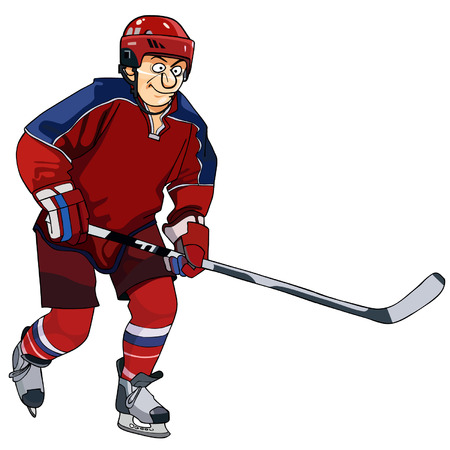 cartoon hockey: cartoon hockey player in the red form with a stick