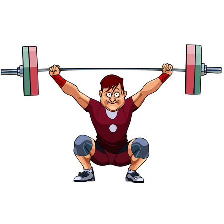 snatch: cartoon male athlete crouched with a barbell