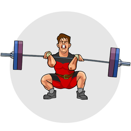 crouching: cartoon weightlifter with an effort squeezing barbell
