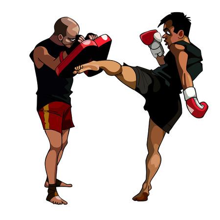 cartoon man vervult kick gekoppeld aan een man die poten boksen houdt