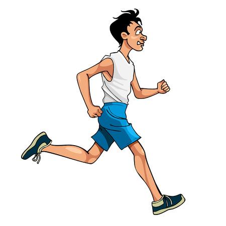 cartoon man in sportswear running, side view Illustration