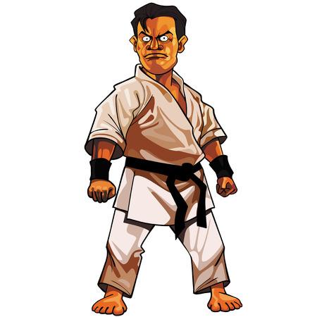 cartoon stern man in a kimono with a black belt Illustration